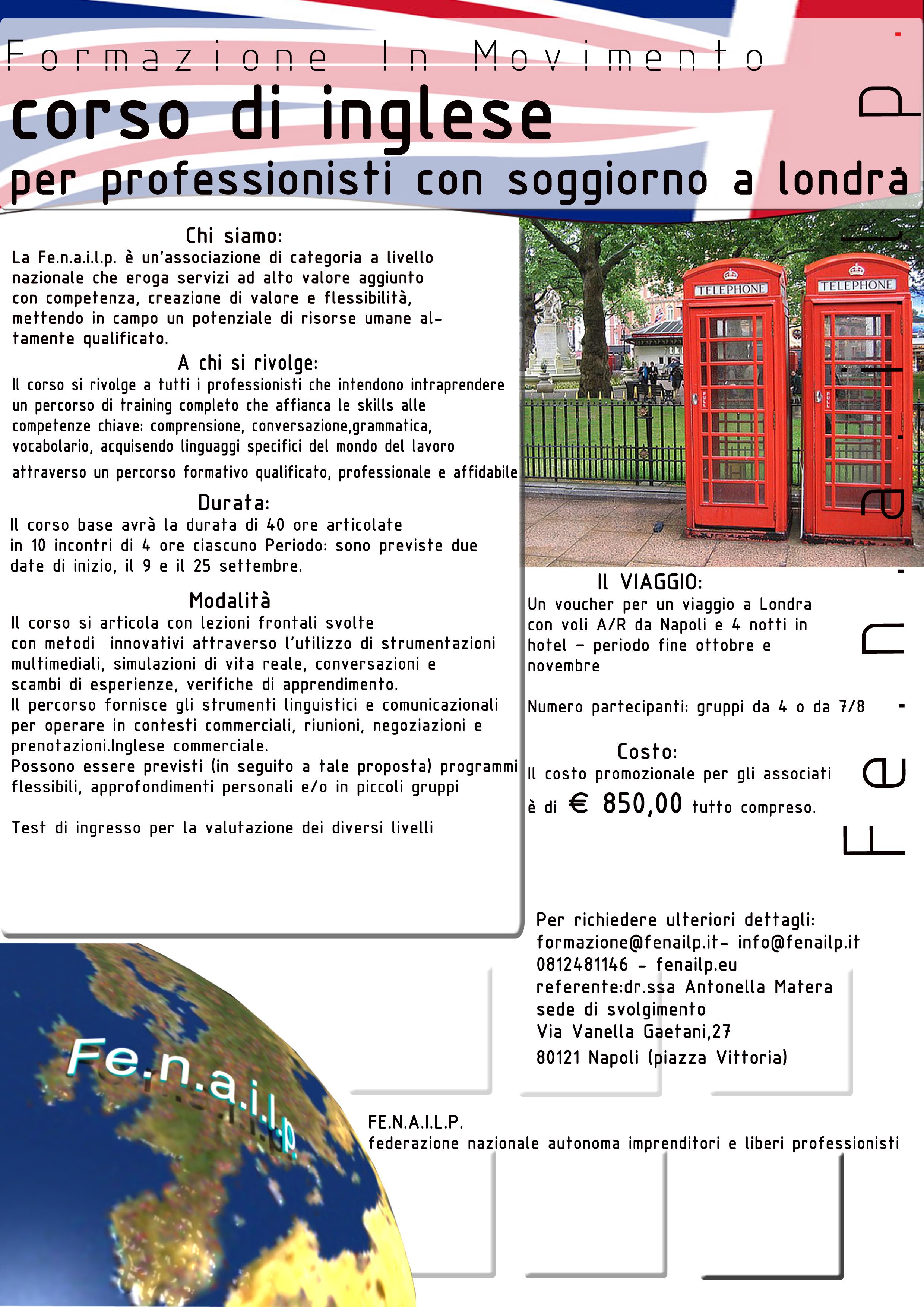 Associazione fe n a i l p corso di inglese for Soggiorno a londra